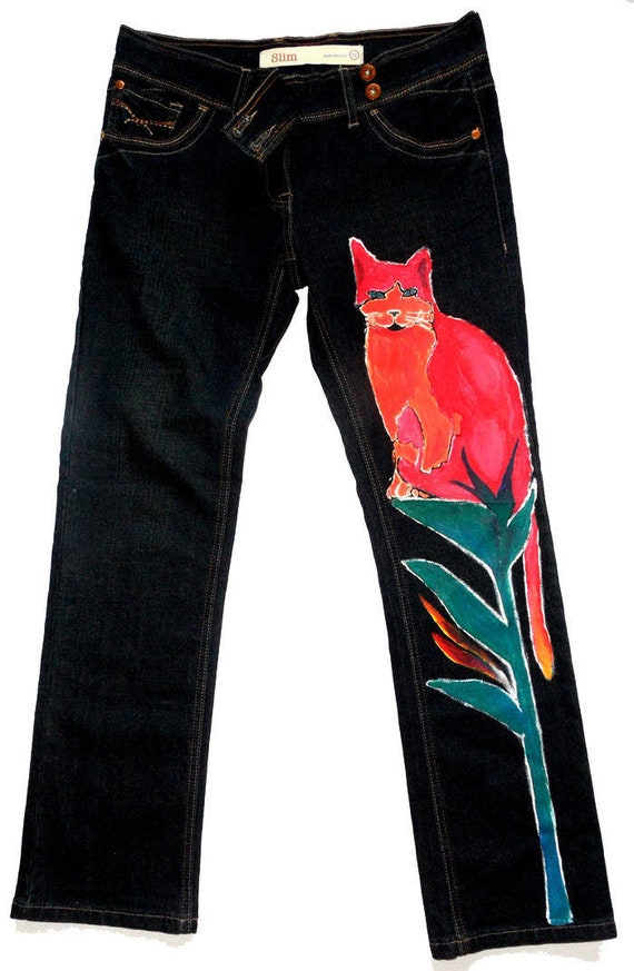 price remains stable largest selection of wide selection Women's Next Skinny Jeans/Hand painted jean/Women's Kitty pants/Women's  floral blue jean/Floral denim/Blue jeans pockets/Denim pockets/Pants