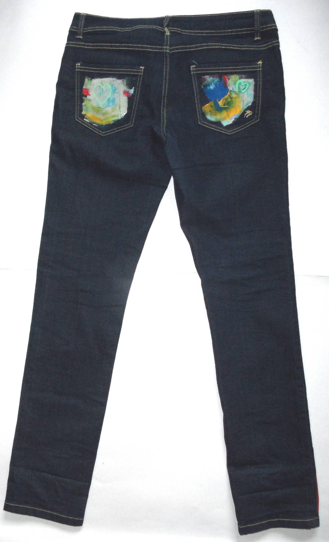 Vaqueros flacos de mujer / jeans pintados a mano ...