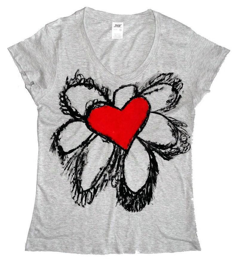 22aed57fd Gray Melange Floral Tee-Shirt-Women's Handmade hibiscus | Etsy