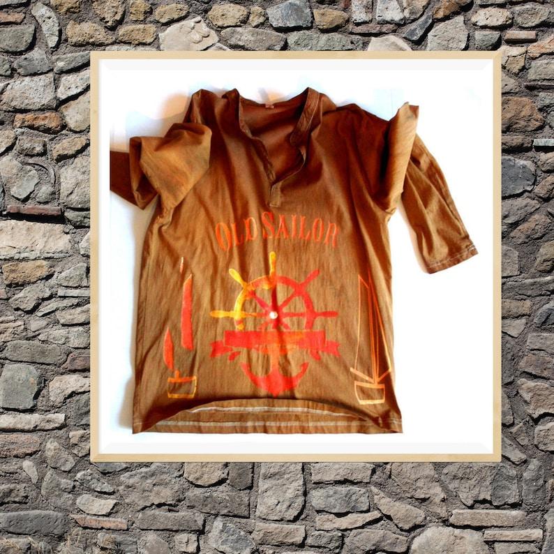 20e5573e1 Men long sleeve tee handpainted/boat rudder t-shirt Men long | Etsy