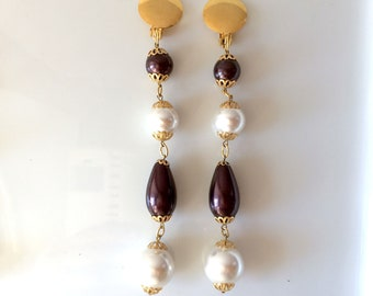 Long clip earrings, faux pearls and colors, 5 variations see photos