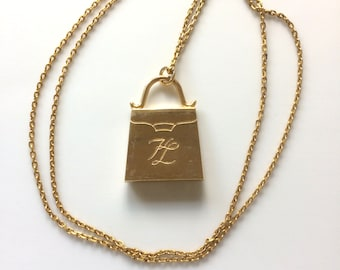 KL, bag charm, KARL LAGERFELD, gold filled, can be worn as a pendant