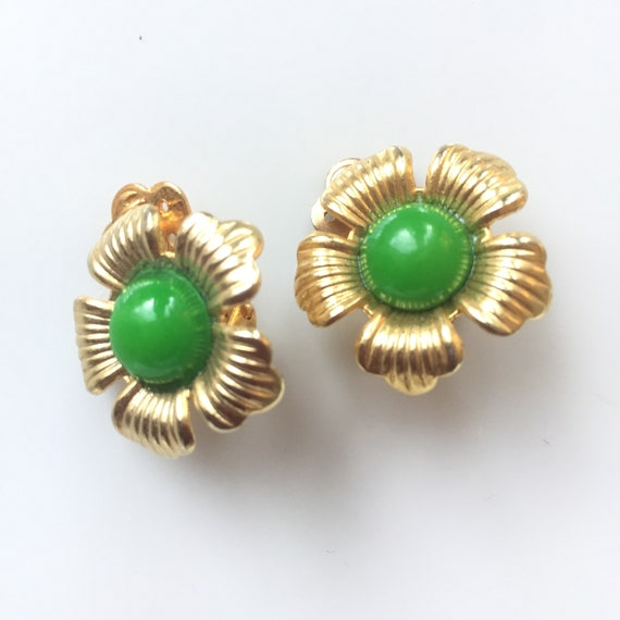 Red clip DAVID GRAU signed dag Vintage earrings