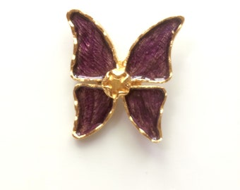 YSL signed purple enameled Butterfly brooch