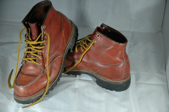 Red Wing Boots, vintage Red Wing moc toe boots, wi