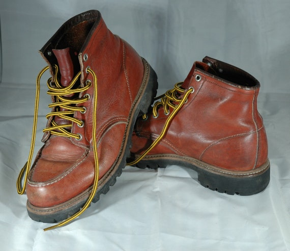 Red Wing Boots, vintage Red Wing moc toe boots, w… - image 4