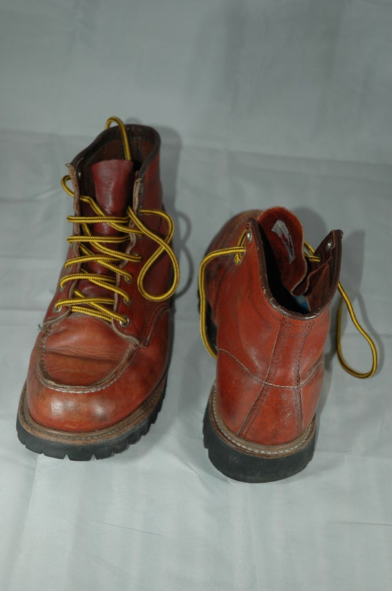 Red Wing Boots, vintage Red Wing moc toe boots, w… - image 8
