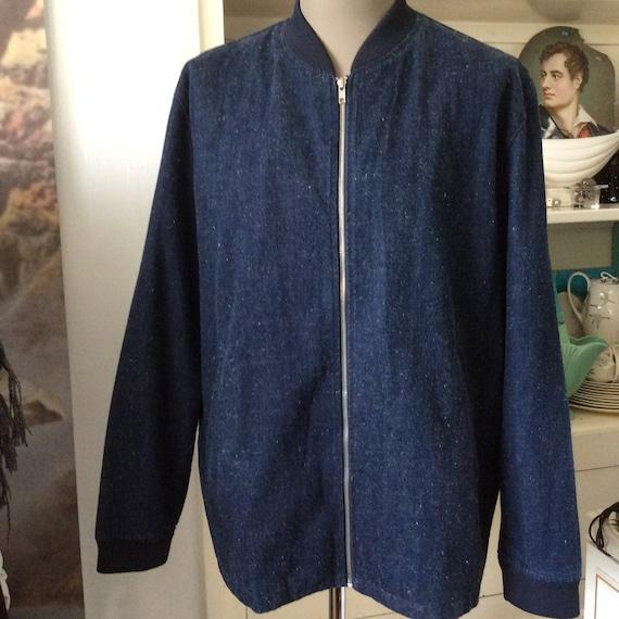 Bomber Jacket Blue Denim Jean Collarless Hipster Chore Work Etsy