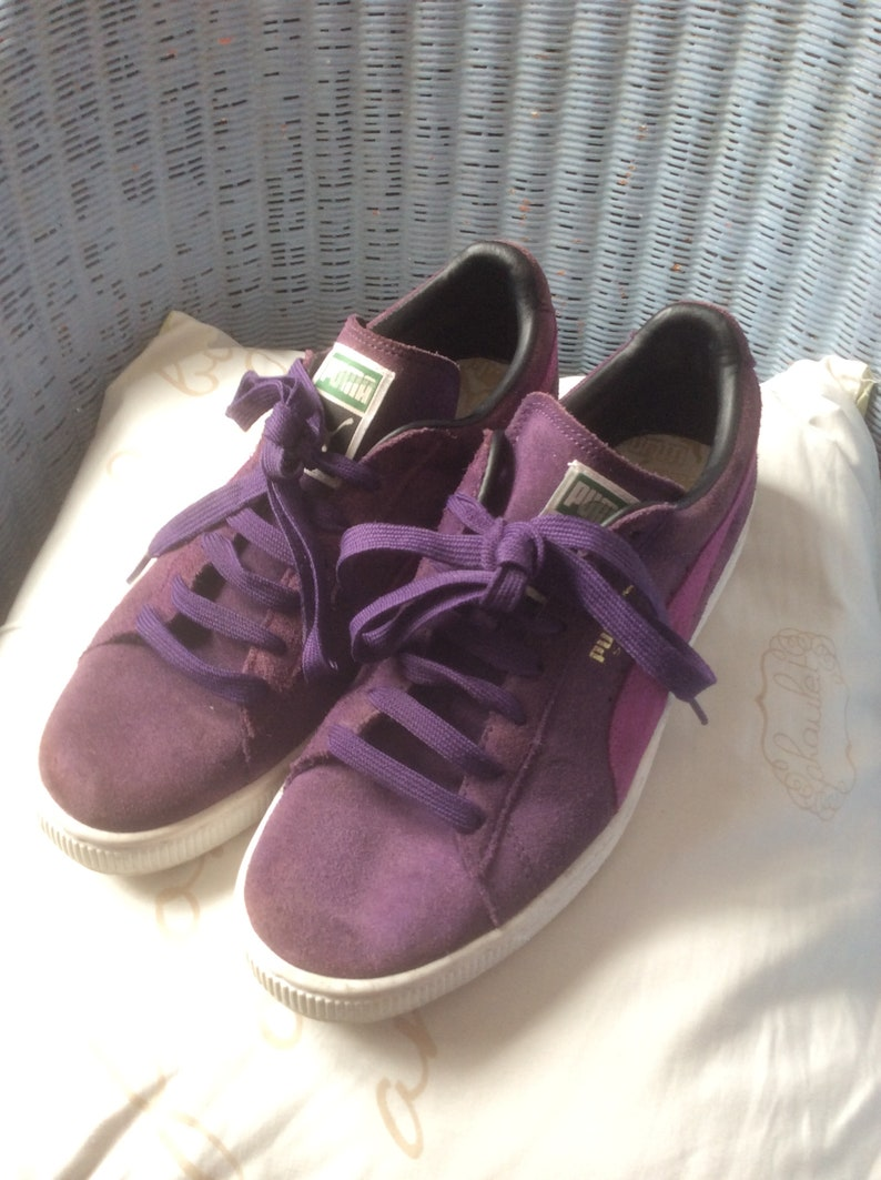 Puma trainers purple suede Track n field lace ups runners athletic sports shoes sneakers hipster japan style womens size Uk 7 Us 8 Eu 40.5