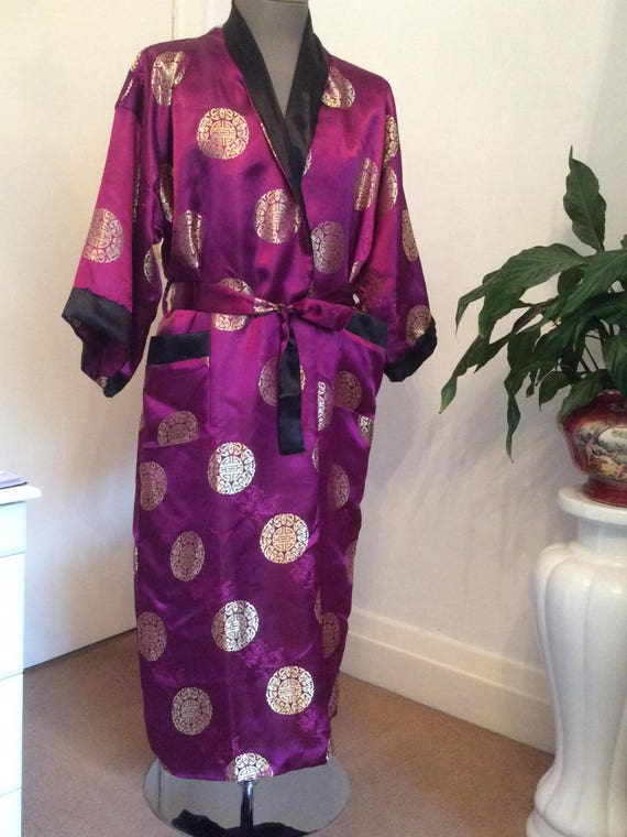 unisex reversible 46 clothing smoking boudoir pink robe chest asian bath jacket embroidery vintage gown size boho fushia Kimono dressing U8qxZOwAw