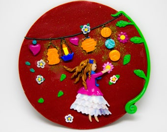 """Girl lanterns"" magnet"