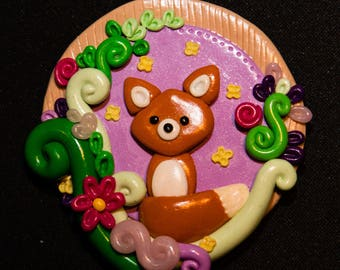 Fox polymer clay magnet