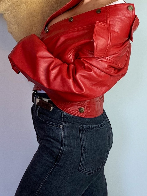 1980s Red Leather Jacket - image 2