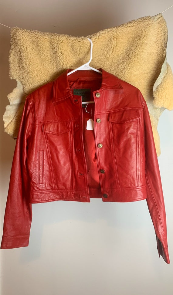 1980s Red Leather Jacket - image 4