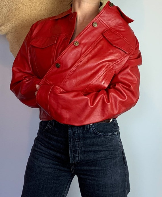 1980s Red Leather Jacket - image 3