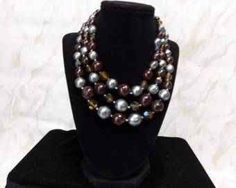Topaz, Brown & Pewter 3 Strand Necklace