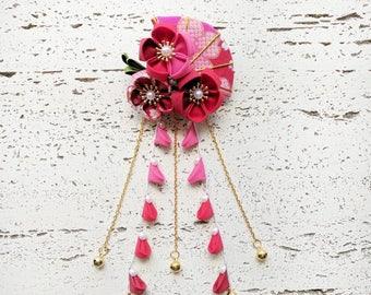 Summer Breeze Fabric Kanzashi Fan and Plum Blossom Dangle Hair Clip, Japanese Kimono Accessories, Tsumami Kanzashi Hair Clip - Red