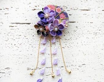 Summer Breeze Fabric Kanzashi Fan and Plum Blossom Dangle Hair Clip, Japanese Kimono Accessories, Tsumami Kanzashi Hair Clip - Purple