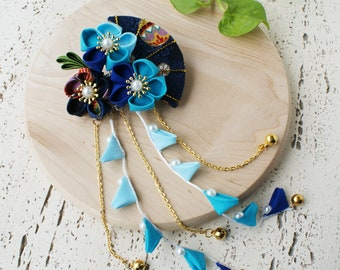 Summer Breeze Fabric Kanzashi Fan and Plum Blossom Dangle Hair Clip, Japanese Kimono Accessories, Tsumami Kanzashi Hair Clip - Blue