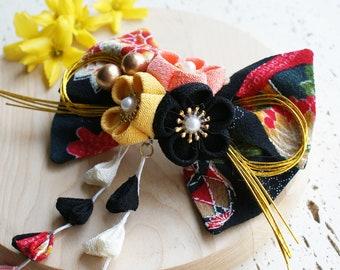 Fabric Kanzashi Flower Dangle Hair Bow, Plum Blossoms, Yukata Hair Bow, Kimono Hair Bow, Lolita Hair Bow, Japanese Kimono  - Black/Yellow