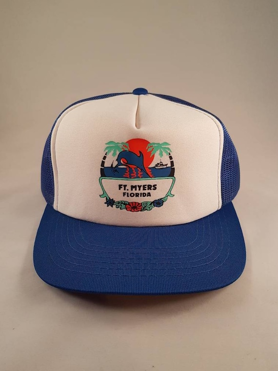 ab052d48817 Vintage Snapback Mesh Ft Myers Trucker Hat With Dolphin Palm
