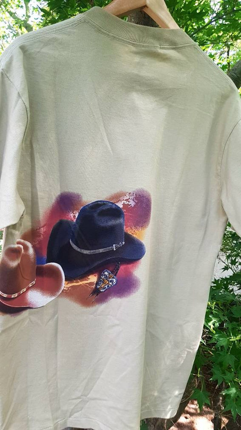 1c26bd74 Vintage 90s Country Western Cowboy Hats and Belt Buckle Tee Sz L Country  Music Western Ranching T-shirt