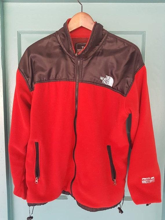 Vintage 90's NORTH FACE Fleece Jacket, Red and Black, fits Men's Medium, Women's Large.