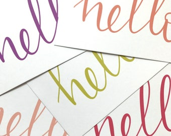 Hand lettering / calligraphy 'hello' notecards - available in variety of colours - a6 note cards, note cards for men, blank cards.