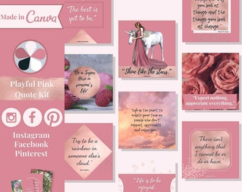 """60 quote templates editable in Canva – Instagram, Facebook & Pinterest templates in """"Playful Pink"""" theme – Get instant access now!"""