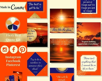 """60 quote templates editable in Canva – Instagram, Facebook & Pinterest templates in """"Fiery Red"""" theme – Get instant access now!"""