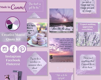 """60 quote templates editable in Canva – Instagram, Facebook & Pinterest templates in """"Creative Mauve"""" theme – Get instant access now!"""