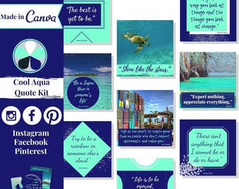 """60 quote templates editable in Canva – Instagram, Facebook & Pinterest templates in """"Cool Aqua"""" theme – Get instant access now!"""