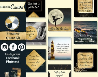 """60 quote templates editable in Canva – Instagram, Facebook & Pinterest templates in """"Elegance"""" theme – Get instant access now!"""