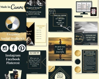 """112 social media templates editable in Canva – Instagram, Facebook & Pinterest templates in """"Elegance"""" theme – Get instant access now!"""