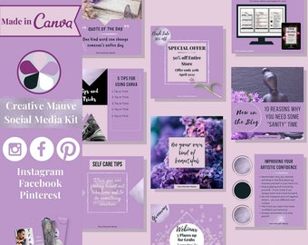 """112 social media templates editable in Canva – Instagram, Facebook & Pinterest templates in """"Creative Mauve"""" theme – Get instant access now!"""