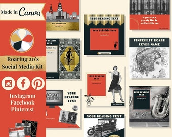 """60 social media templates editable in Canva – Instagram, Facebook & Pinterest templates in """"Roaring 20s"""" theme – Get instant access now!"""