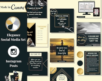 """28 Instagram post templates editable in Canva – Social media templates are themed in """"Elegance"""" – Get instant access now!"""