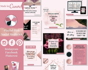 """112 social media templates editable in Canva – Instagram, Facebook & Pinterest templates in """"Playful Pink"""" theme – Get instant access now!"""