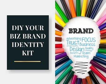 DIY Your Biz Brand Identity Kit with Bonuses - Color Psychology Guide, Customizable Mood Board, Logos, Icons and Image Licensing Guide