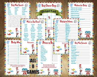 FLASH SALE! All 8 Games! Dr Seuss Baby Shower Games, Dr Seuss Baby Shower, Thing 1 Thing 2 Baby Shower Game, Thing 1 Thing 2 Baby, DIY Print