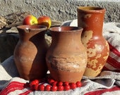 Grandparents gift Very old antique, antique Amphora, Country pottery,vase pottery jug ancient vessel, old clay jug ceramic Three jugs decor
