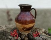 Clay pots, Ceramic vase, Clay jug, Unique pot, Flower vase, Clay flower pot, Ceramic vase, Ceramic dishes, Gift Fire orange, Table decor