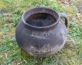 Vintage Pot, Small Clay Pot, Antique Amphora, Clay Plant Pot, Low Pot, Elegant Pot, Clay Pot, Antique Clay Pot, Unique Pot, Primitive decor