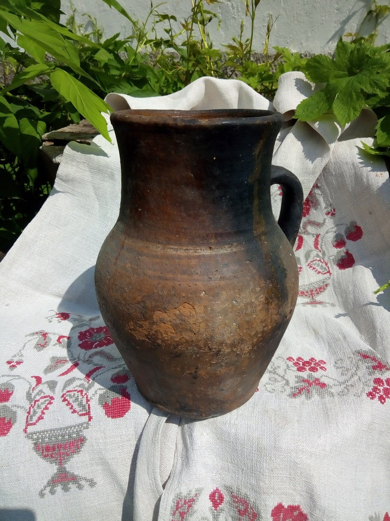Country pottery Grandparents gift Very old antique rustic pottery old clay jug ceramic antique Amphora ancient vessel vase pottery jug