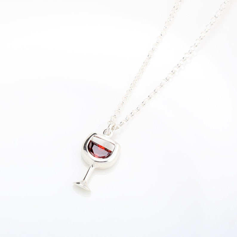 Cheers Red wine glass s925 sterling silver necklace Valentine/'s Day gift