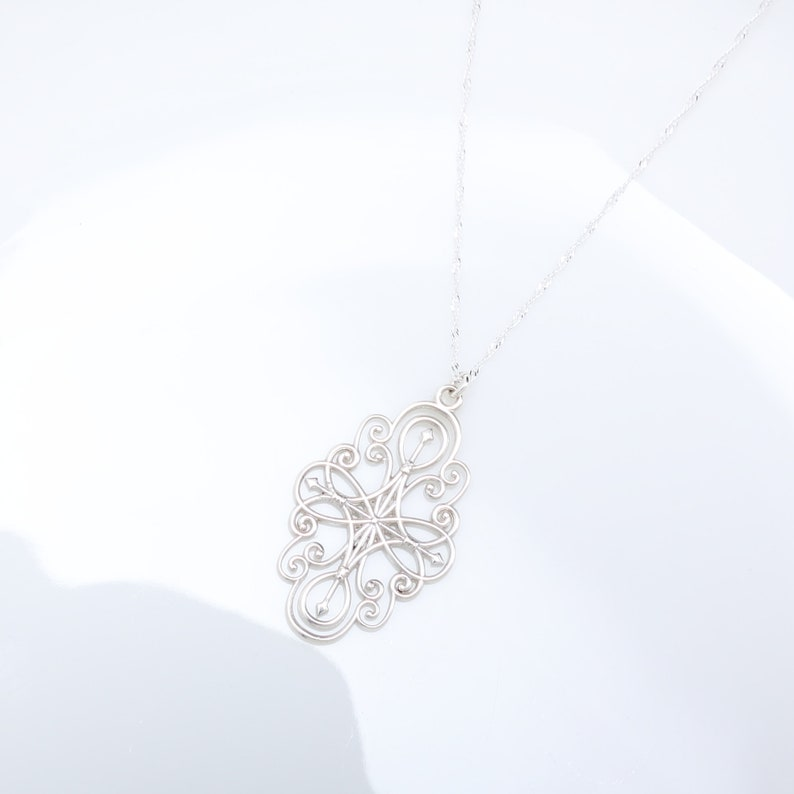 Secret Garden Filigree s925 sterling silver necklace Valentine/'s Day gift