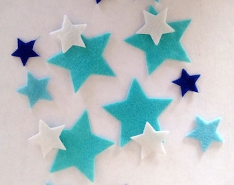 set of 32 stickers, repositionable star felt different sizes and colors