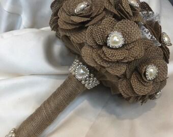 Hessian Rustic Bouquet, Rustic Wedding, Rhinestone Bouquet.