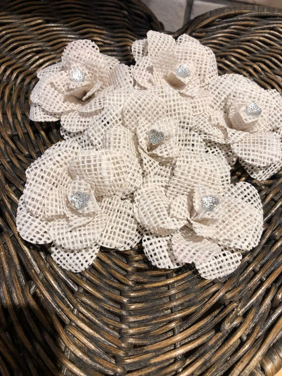 White Hessian Wedding Cake Or Table Decorations With Diamonte Etsy