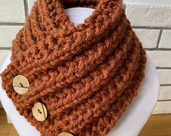Rust Wool Collar, Super Chunky Scarf, wool scarf, Fashion Collar. Brown scarf.